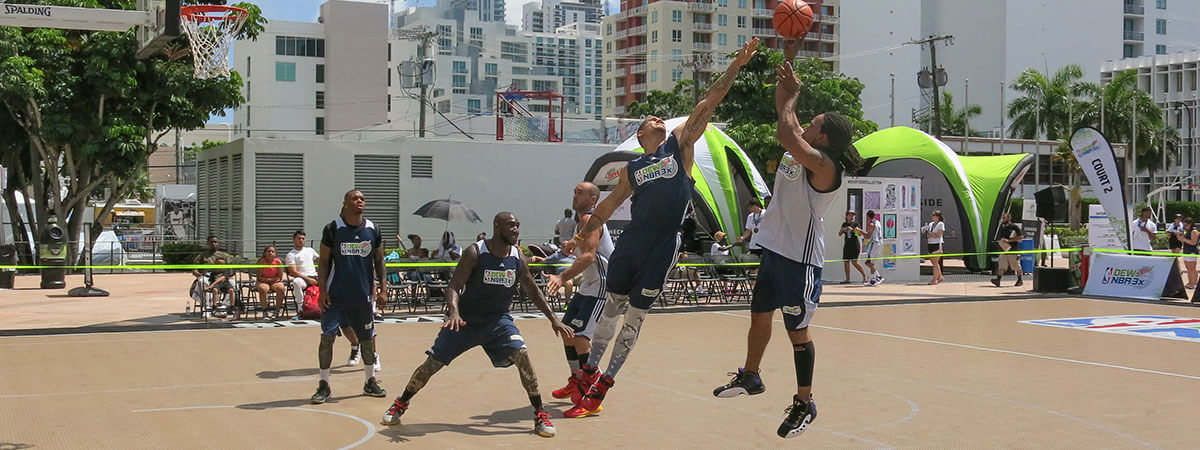 The DEW NBA 3x competition plays on SnapSports commercial outdoor courts.