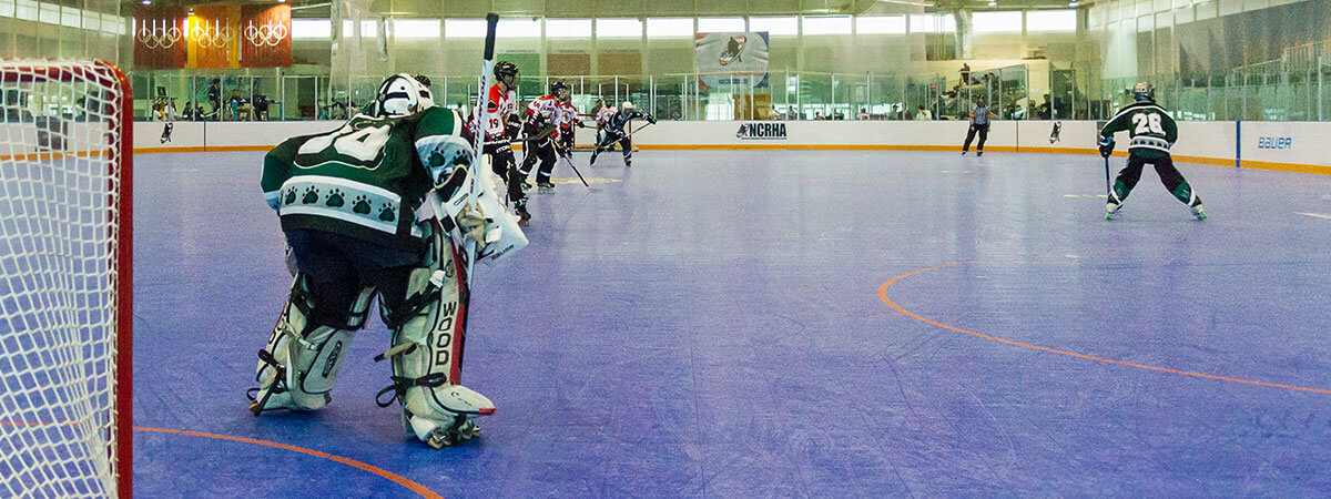 The NCRHA championship match played on a SnapSports inline hockey rink.