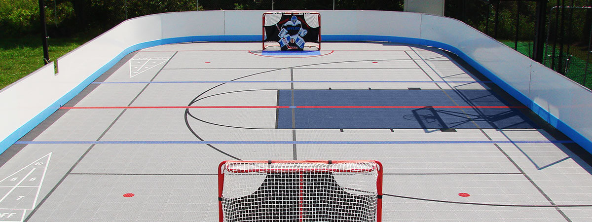A residential inline-hockey rink