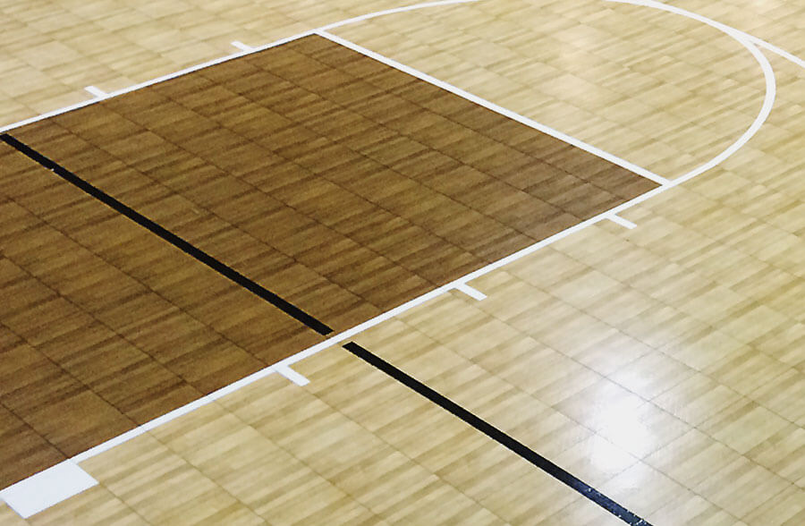 SnapSports TuffShild maple on a Revolution indoor basketball court